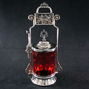 REDUCED Aesthetic Period Victorian silver plated pickle castor with cranberry glass jar - Roge