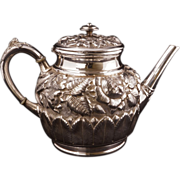 REDUCED Antique Victorian silver plate ornate foliage and flower teapot by Hartford circa 1880