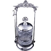 Eastlake Brooklyn silver plate pickle castor with pattern pressed glass jar circa 1870