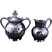 Aesthetic movement Victorian silver plate sugar and creamer set Beehive design by Rogers circa