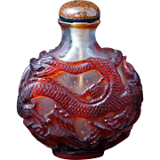 Chinese red dragon glass snuff bottle circa 1900