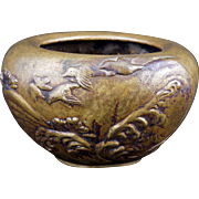 Japanese bronze censor with birds flying over waves circa 1900
