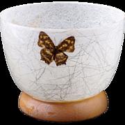 Mid-century Modern fiberglass bowl with inlaid butterflies