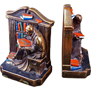 Monk in library bronze clad bookends by Marion Bronze circa 1950