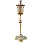 Vintage table top German cigarette lighter in the shape of a Spanish revival floor lamp circa