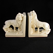REDUCED Pair of Early 20th Century Off White Ceramic Lion Bookends