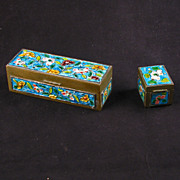 Set of two Chinese hinged brass enameled boxes circa 1920