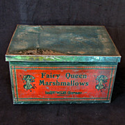 REDUCED Lithographed Victorian Marshmallow Tin Box from the Loose-Wiles Company ca 1900