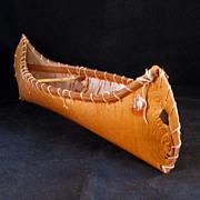 SALE PENDING Vintage souvenir birch bark canoe