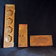 Set of Three Vintage Wood Japanese Kigata Sweets Molds