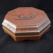 Chinese lacquered painted eight-sided condiment box with nine dishes circa 1910