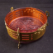 Art nouveau brass and cranberry glass serving dish circa 1910