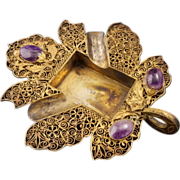 SOLD Vintage Chinese ornate filigree wire ash tray with amethyst cabochons early 20th century