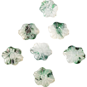 REDUCED Seven small Chinese vintage jadeite flower beads 20th century