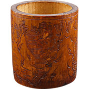 Chinese bamboo brush pot with incised carving early 20th century