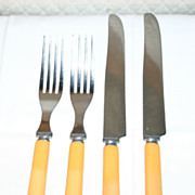 Butterscotch Yellow Bakelite Flatware Service for Two