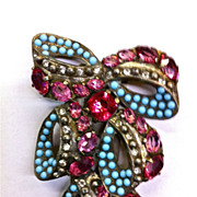 Eisenberg Original dress fur clip pink rhinestones faux aqua cabs