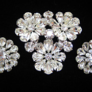 SALE Sparkling Kramer layered floral rhinestone brooch and earrings