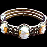 Shell Cameos brass clamper Victorian bracelet