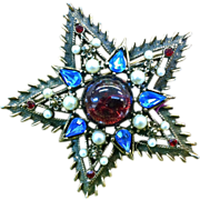 Weiss red blue rhinestone faux pearl star brooch