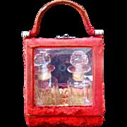 Victorian Cut glass perfume bottles in red velvet case