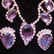 Lovely Lavender and Pink Rhinestone Necklace and earrings