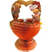 Victorian Valentine Tissue Beehive basket cupids