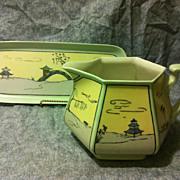 Bernardaud Limoges cider pitcher and MIJ sandwich tray set with Deco Japanesque design artist