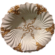 """Meissen classic Rococo cattail and waves gold gilt deep mold 10.75"""" Oyster charger bowl ."""