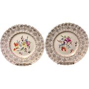 "SALE Pair of Meissen marked Crown Dresden decorated reticulated 9"" plates with flowers an"