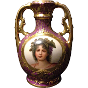 "SALE Carl Thieme Dresden petit 5"" vase w portrait of the Greek Goddess Hebe artist ..."