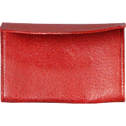 Red Leather Calling Card Case