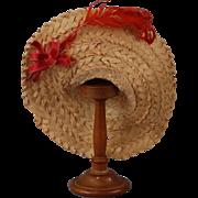 Jaunty Straw Fashion Doll Hat