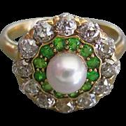 Antique DIAMOND Demantoid GARNET PEARL 18K Gold Ring Edwardian