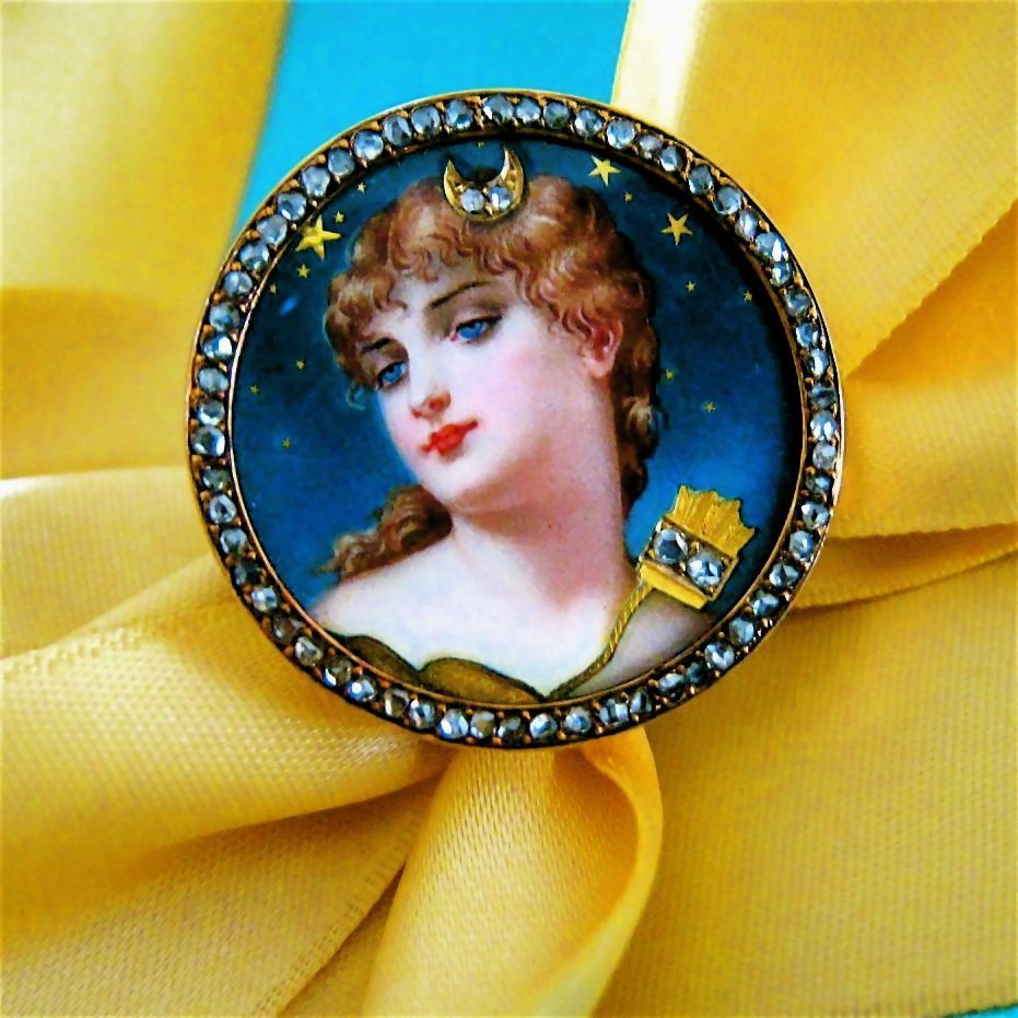 Rare Antique Art Nouveau Diamond Enamel Goddess Diana 14k