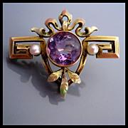 Antique 14K Gold Amethyst Enamel Pearl Art Nouveau Watch Pin