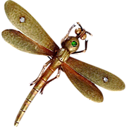 SOLD Rare Antique Art Nouveau Demantoid Garnet Diamond Dragonfly 14K Gold Veil Clip