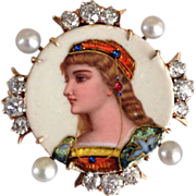 Antique Victorian Diamond French Enamel Portrait 14k Gold Pearl Pendant Brooch