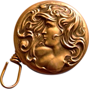 Antique Art Nouveau Woman with Flowing Hair Fob Brooch Chatelaine