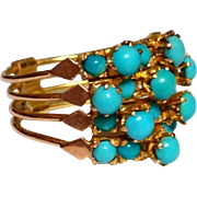 Antique Victorian Persian Turquoise 14k Gold 4 Band Harem Ring