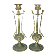 SOLD Pair of Antique Art Nouveau French Gilt Bronze Candlesticks - Red Tag Sale Item