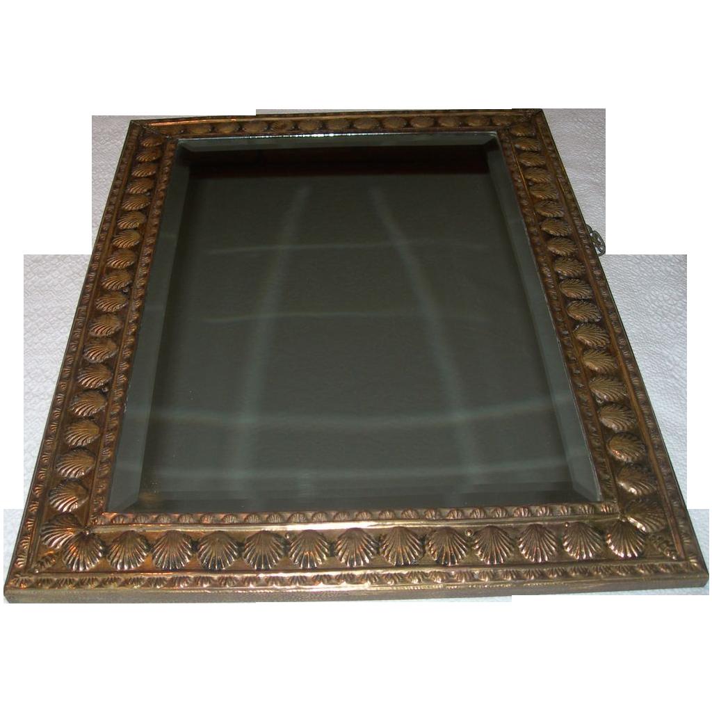 Antique European Brass Beveled Mirror