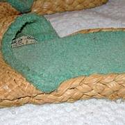 REDUCED Vintage Raffia Woven Slipper