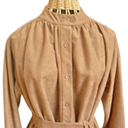 Vintage Faux Suede Button Front Dress