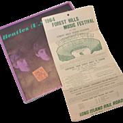 SALE Beatles 1964 Forest Hills Concert Ticket Stub and Tour Booklet