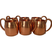 Set of 6 West Bend Aluminum Copper Mugs
