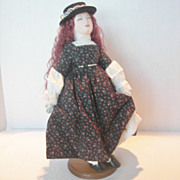 """REDUCED Vintage Handmade Cloth """"Jo"""" Doll From Little Women"""
