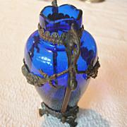 SALE PENDING Metal Clad Cobalt Blue Vase