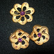 REDUCED Vintage Gold Tone & Amethyst Set