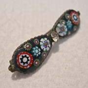 Antique Millefiore Mosaic Set in Glass Pin